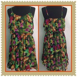 Bongo Black Floral Print Semi Sheer Dress Size XL